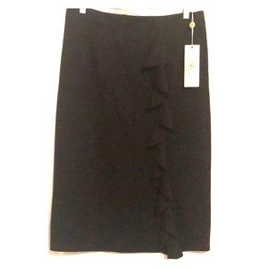 New black pencil skirt with split and front fringe